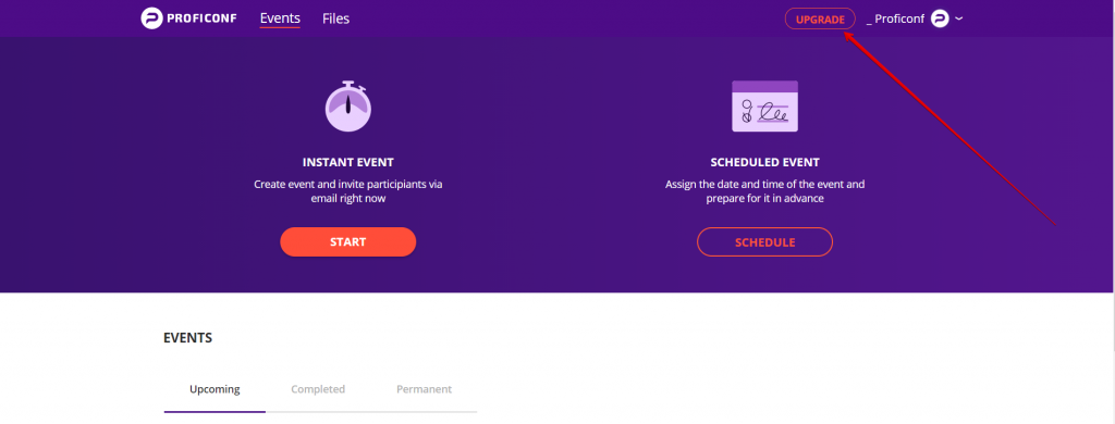 Proficonf events page