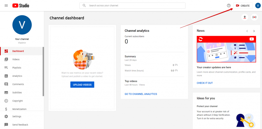 Channel dashboard on YouTube