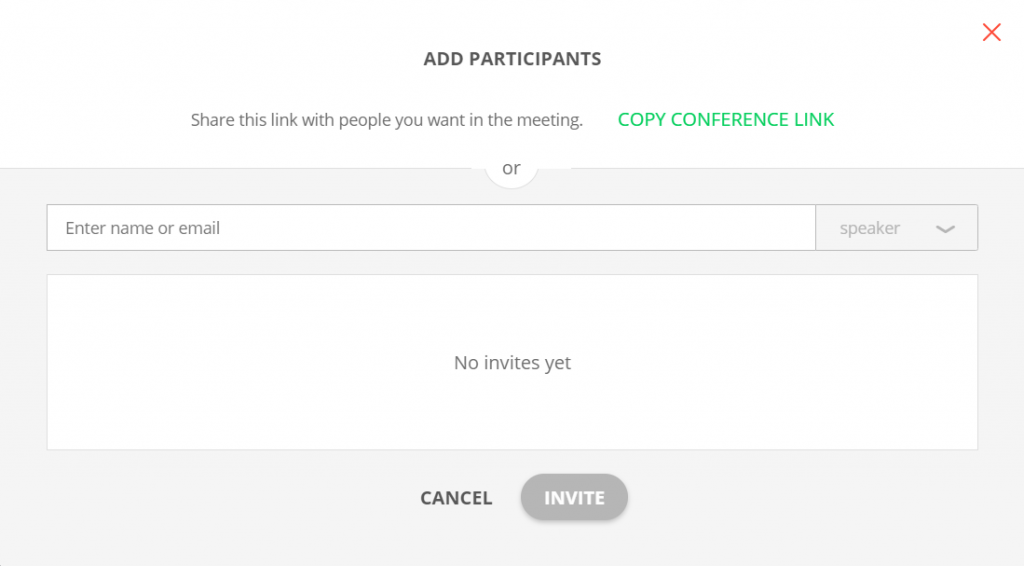 Invite by email menu in Proficonf